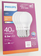 Philips 40w Non-Dimmable LED Bulb 2700K Soft White A19 6.5w 450lm (4-Pack)