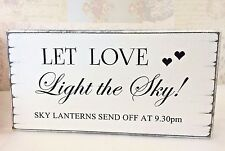 Wedding Sky Lanterns Sign Personalised Free Standing  Shabby Vintage Chic