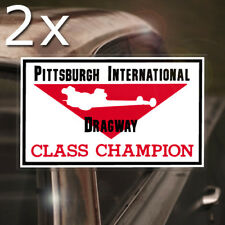 2x pieces Pittsburgh Dragway REAL waterslide decal hot rod inside glass window