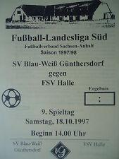 Programm 1997/98 Blau Weiß Günthersdorf - FSV Halle