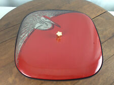 Vintage Japan Red Lacquer Ware Divided Nut Dish Crane  #WH-4