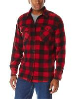 Wrangler Authentics Men's Long Sleeve Plaid Fleece Shirt, Red, Red, Size Medium
