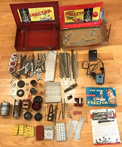 Vintage GILBERT ERECTOR Metal 7-1/2 Box  PLUS Parts & Restoration