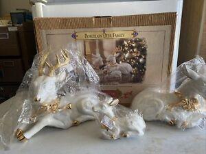 Grandeur Noel Porcelain Deer Christmas Reindeer Family Collector's Edition 1999