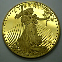 1996 GIANT LIBERTY-EAGLE ONE HALF POUND 8 TROY OZ 999 SILVER 24K T.E.G.P. ROUND