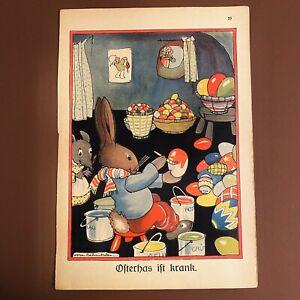 Antiker Druck: 1930er Eier Osterhase 27cm Kinderbuch Bild Maus Süß Ostern ALT