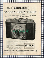 (7098) PAPER ITEM!!  Amplion Dacora Digna Minor Camera ADVERT - 1954 CUTTING
