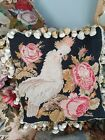 Antique victorian needlework tapestry cushion pillow cockatoo and flowers