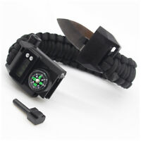 Outdoor Camping Survival Paracord Bracelet Emergency Gear Knife Compass Kit US
