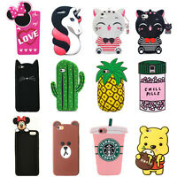 For Various Phone Case Cover HOT 3D Cute Cartoon Animals Soft Silicone Back Skin