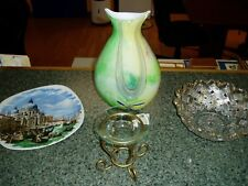 LOT OF 4 ITEMS, VASE, VENICE ITALY DISH,CANDLE HOLDER,GLASS BOWL