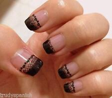 3D Nail Art Lace Stickers Decals Transfers Black Lace Design Nail Art  2 SHEETS