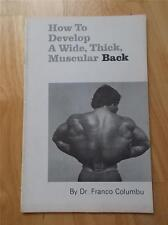 Original Franco Columbu HOW TO BUILD A WIDE, THICK MUSCULAR BACK booklet 1980
