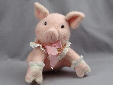 VINTAGE HALLMARK CARDS WHITE LACE GLOVE PINK PIG PLUSH STUFFED ANIMAL TOY