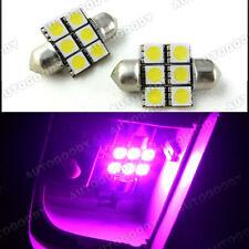 2x Pink LED Bulbs 31mm Festoon 6-SMD Dome Map Light Lavender
