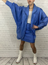 80s Vintage Women's Royal Blue Batwing Dolman Sleeve Skirt Jacket 2 Piece Set 8