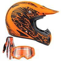 Adult Matte Orange Motocross Helmet Combo Gloves Goggles Dirt-bike DOT ATV UTV