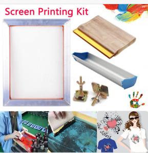 5Pcs/Set SCREEN PRINTING KIT Aluminum Frame+Hinge Clamp+Emulsion