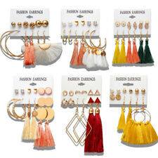 6Pairs/set Boho Tassel Crystal Pearl Earrings Women Ear Stud Dangle Jewelry Gift