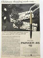 c1960 VINTAGE Parker 45 Pen Christmas Print Ad 14K Gold Nib $5 XMAS Advertising