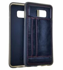 Samsung Galaxy S6 Edge Plus - TPU LEATHER 2 CREDIT CARD WALLET CASE COVER BLACK