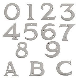 """Satin Chrome Numerals Door Numbers 0 - 9 3"""" 75mm & Letters A B C 2.5/8"""" - 65 mm"""