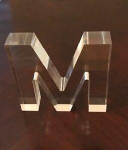 Clear Acrylic Lucite Letter M Initial Monogram Freestanding Table Décor