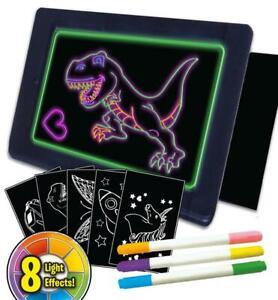 Splat Planet Magic Glow Board Neon Art Drawing Pad Doodle Board Free Stencils