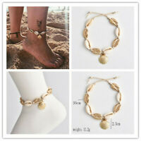 Gold Beads Shell Bracelet Women Anklet Adjustable Chain Foot Beach Jewelry