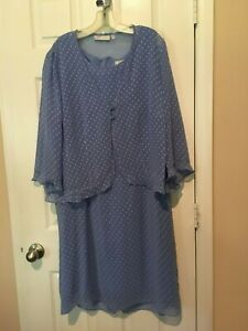 Womans Dressbarn blue Dress and Jacket (2 PC)  -   Size 18W