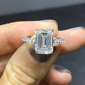 14k White Gold 1.60Ct Emerald Cut Diamond Solitaire Engagement Ring Wedding Gift