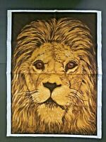 Vintage Wesco-Reltex Panel Lion Face Time Fabric 20x28 Barkcloth Wall Hanging