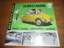Prospekt Sales Brochure Heinkel-Kabine Kleinwagen Microcar Car Auto Fahrzeug