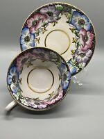 Rare Taylor Kent & Longton England Tea Cup & Saucer Pansies Bone China