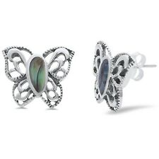 Abalone Shell Filigree Style Butterfly .925 Sterling Silver Earring