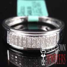 Genuine Diamond 10k White Gold Finish Men's Wedding Anniversary Ring Band New