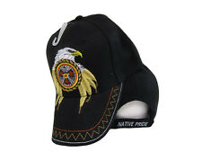 Native Pride Eagle Feathers Dreamcatcher Black Indian Embroidered Cap Hat