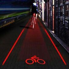 Bike Fahrrad Sicherheit Rücklicht 5-LED 2-Laser Projektor Beleuchtung Warnlampe