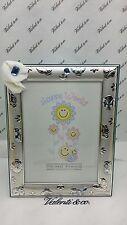 Portafoto Cornice Bimbo Argento retro legno celeste Bambino cm 23 x 18,5 Valenti