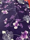 Vintage Purple Eggplant Violet FLORAL Fabric NYLON POLY Gorgeous, 4.75 Yards X59