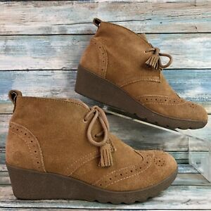Lands End Womens 6M Brown Suede Ankle Boots Bootie Lace Up Tassels Wedge Heel
