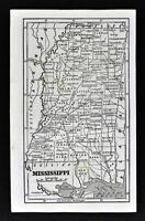 1855 Savage Map Mississippi Jackson Vicksburg Natchez Oxford Gulf Coast Antique