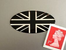 Union Jack Flag Sticker Domed Finish Black & Chrome 50mm Oval
