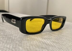 Rare Authentic Gucci GG 2409/N/S Black Gold/ Yellow 49mm Vintage Sunglasses