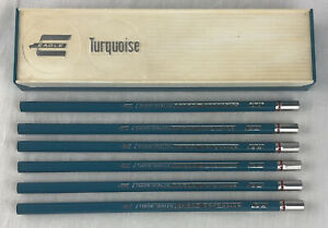 Eagle Turquoise Chemi Sealed Pencils (6) With Plastic Pencil Case 375 3H