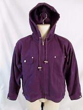 Denim & Co. Women M Purple Hooded Zip Front Long Sleeve Coat Jacket H471