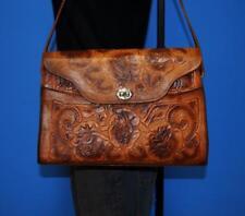 VTG Western Brown Floral Embossed Tooled Leather Shoulder Hobo Tote Purse Bag