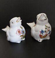 Vtg Bone China Porcelain Ceramic Birds Sparrow Floral Salt and Pepper Shakers