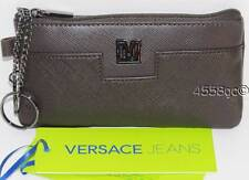 VERSACE JEANS BROWN SAFFIANO LEATHER COIN PURSE WALLET W/KEY HOOK BOXED