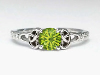 Peridot Celtic Knot Diamond Engagement Ring with Diamond Accents, low profile